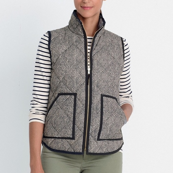 J. Crew Factory Jackets & Blazers - J. Crew Black Herringbone Zip Up Vest Sz Medium